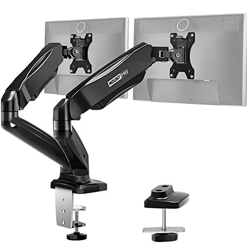 MOUNT PRO Dual Monitor Desk Mount - Articulating Gas Spring Monitor Arm, Removable VESA Mount Desk Stand with Clamp and Grommet Base - Fits 13 to 32 Inch LCD Computer Monitors,VESA 75x75, 100x100