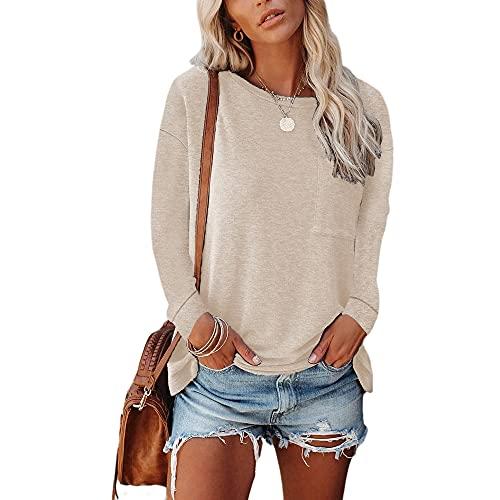 Baonmy Camiseta casual de manga larga cómoda casual con cuello redondo clásico de color sólido para mujer, caqui, M