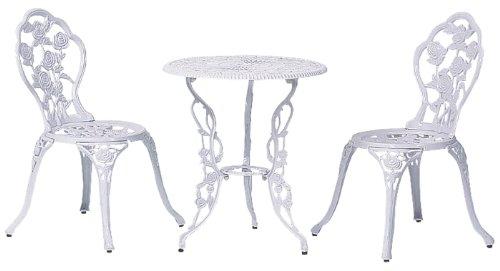 タカショー(Takasho) テーブルセットローズ ホワイト 60φ(テーブル1台、チェアー2脚) SGT-15WN