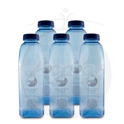 Tritan Trinkflasche 8-Kant 1,0 L Acala 5er Supersparset mit Blume des Lebens