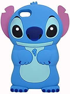 iPod Touch 5th / 6th Generation Blue Stitch Case,3D Cartoon Animal Character Design Cute Stitch Soft Silicone Kawaii Cover,Cool Cases for Kids Boys Girls (Stitch, iPod Touch 5/6)