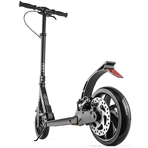 SSLC Erwachsene Roller mit großen Rädern mit Scheibenbremsen, Faltbare Tretroller für Frauen Männer,mit Doppelfederung ab 12 Jahre bis 100kg,Nicht elektrisch, Black