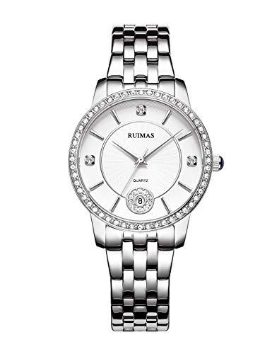 Relojes Mujeres Fino Cuarzo Analógico Esfera de Cristal Estrellado Correa de Acero Inoxidable Calendario Día Reloj Redondo Resistente al Agua Elegante