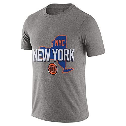 HS-XP Camiseta De Manga Corta De Baloncesto De Los Hombres, NBA New York Knicks Basketball Jersey, Fans Training Sudadera Uniforme Deportes Tops Sueltos,Gris,M(165~170cm)