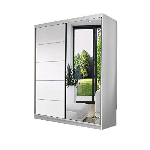 Idzczak Meble Schwebetürenschrank Vista 05 mit Spiegel Kleiderschrank Schlafzimmer- Wohnzimmerschrank Schiebetürenschrank Modern Design (Weiß/Weiß + Spiegel)