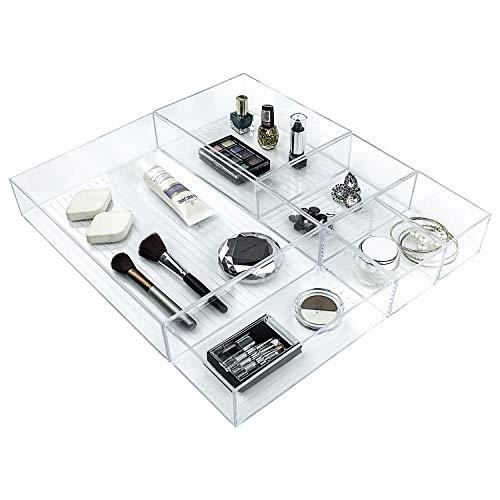 Ulinek 5-teiliges Organizer Schublade Set, Kosmetik Organizer Schublade Schminktisch, Schublade Organizer Ordnungssystem Schreibtisch, Schublade Organizer verstellbar für Bad Küche Büro, transparent
