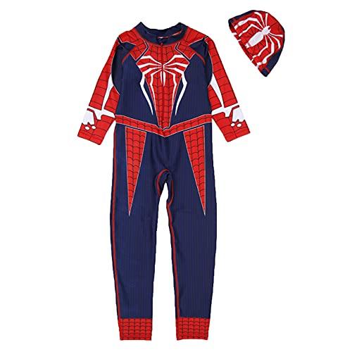 Traje De Baño De Niños Spiderman Swimsuit Boy Superhéroe Traje De Natación Impresión 3D Traje De Holiday Holiday Surfsuit Verano Sunsuit UV Protección Rash Guard Wearwear,Blue-3XL/125~135CM