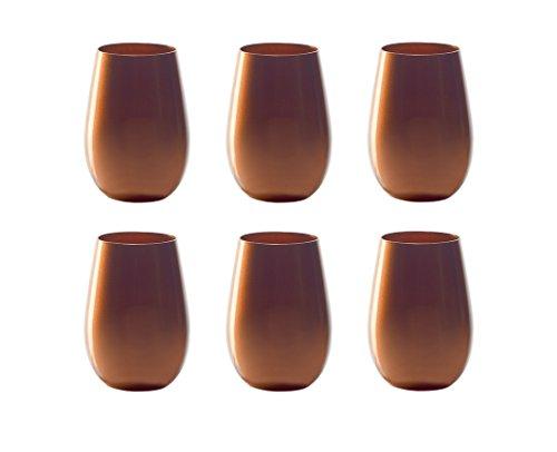 Stölzle Lausitz Lot de 6 verres de 465 ml - Lavables au lave-vaisselle - Haute résistance à la rupture - Verres universels comme verres à eau, à jus de fruits, à whisky (bronze)