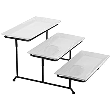 Tiered Serving Set - Thicker, Adjustable Sturdy Metal Rack - 3-Tier White Porcelain 12  x 6  Platter Set (White Porcelain, 3-Tier)