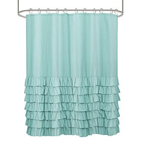 Tomorrow Sun Shine Schicke Rüschen-Duschvorhänge wasserdichte Volltonfarbe Polyester Duschvorhang Liner für Badezimmer, Wohnkultur Waschbar 70,9 x 70,9 Zoll,Blau