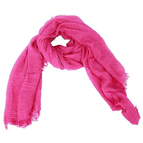 Preisvergleich Produktbild DAYFA Klassisch einfarbiger Viscose Schal hochwertig, leicht Crinkle Tuch, Unisex SH0411 (Pink)