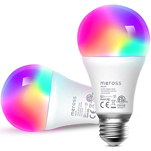 Smart Light Bulb, meross Smart WiFi LED Bulbs Works with Alexa, Google Home, Dimmable E26 Multicolor 2700K-6500K RGB, 810 Lumens 60W Equivalent,No Hub Required,2 Pack