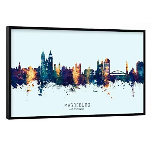 artboxONE Poster mit schwarzem Rahmen 30x20 cm Städte Magdeburg Skyline BlueOrange - Bild magdeburg