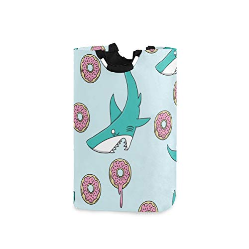 senya Shark Vs Donut Large Home Organizer Bin, Storage Bags, Clothes Hamper, Foldable Laundry Basket for Bedroom, Bathroom, Baby Nursery, Toy Organizer(w)