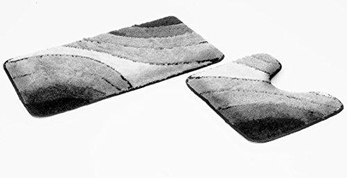 Goodway 2 teiliges Badematten Set Wave grau mit Ausschnitt