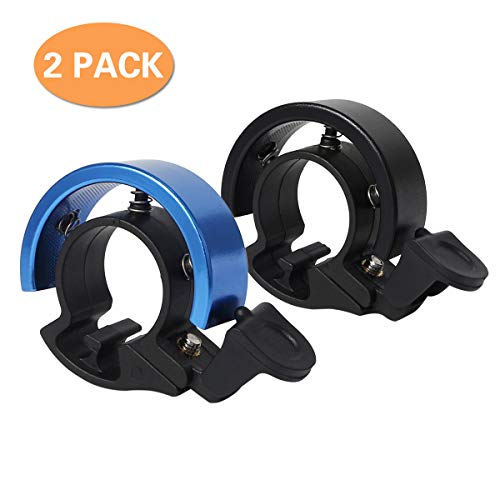 Cevikno 2 Pack Mini Fahrradklingel Fahrradlenkring Klingel Sicherheitswarnung Fahrrad Glocke laut und hell (Schwarz-Blau, One Size)