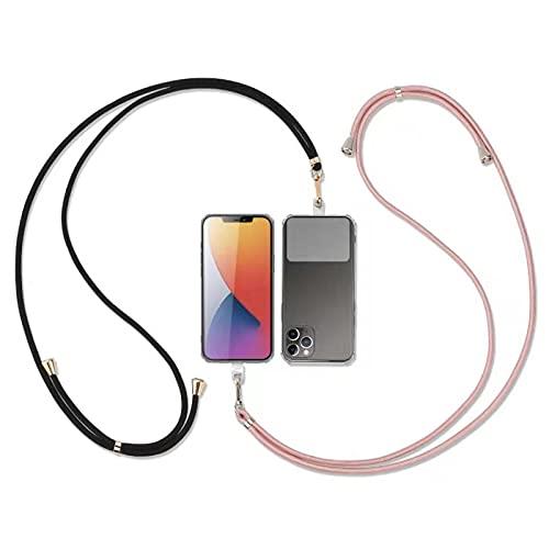DiDaDi Universale Handykette 2 Stück, kompatibel mit meisten Smartphones Necklace- Kette zum umhängen in Rosa-Gold/Schwarz