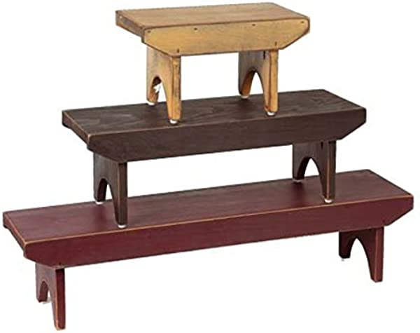 Home Collection By Raghu Barn Red Black Nutmeg Bradley Wood Benches Set Of 3 10 X8 X6 23 X8 X6 35 X8 X6 10 X 8 X 6 23 X 8 X 6 35 X 8 X 6
