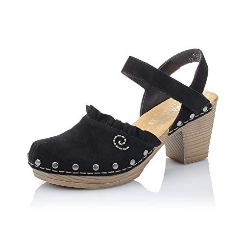 Rieker Mujer Sandalias 66771, señora Sandalias con Plataforma,Zapato de Verano,cómodo,Suela Gruesa,Negro (Schwarz / 01),36 EU / 3.5 EU