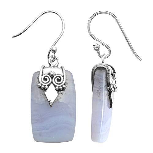 Silver Palace Pendientes colgantes de plata de ley 925 con encaje azul natural, hechos a mano, para mujeres y niñas