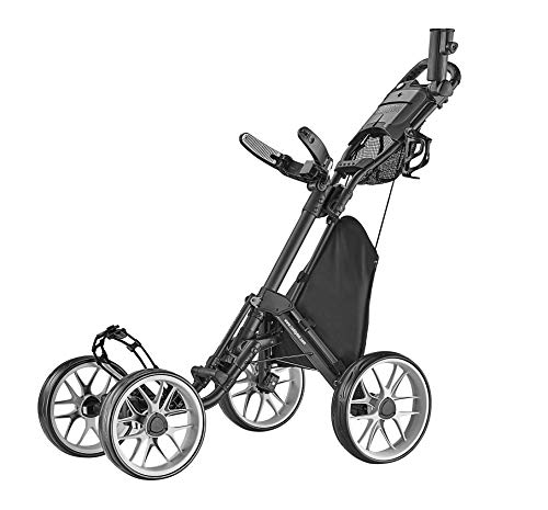 CaddyTek Caddycruiser One Version 8 - One-Click Folding 4 Wheel Golf Push Cart, Dark Grey