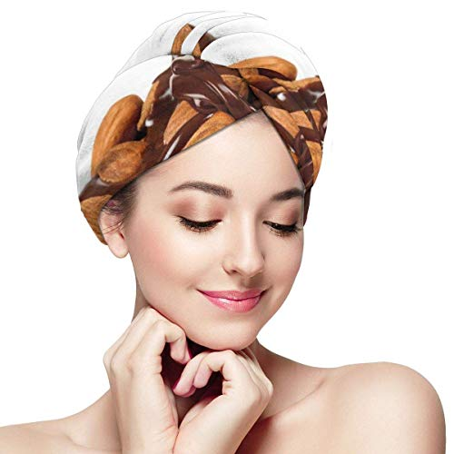 HomeLEE Quick Dry Haar Wrap Handdoeken Turban,Close Up Fotografie Van Chocolade Saus Gegoten Op Een stapel Amandelen Print,Absorbens Douche Cap