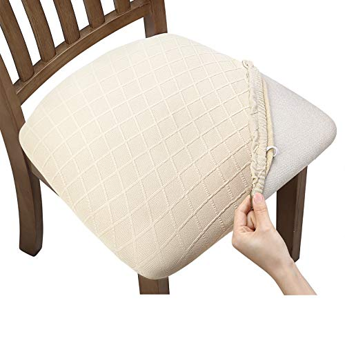 Fuloon Stretch Jacquard Chair Seat Covers,Removable Washable Anti-Dust Dinning Room Chair Seat Cushion Slipcovers (4, Beige)