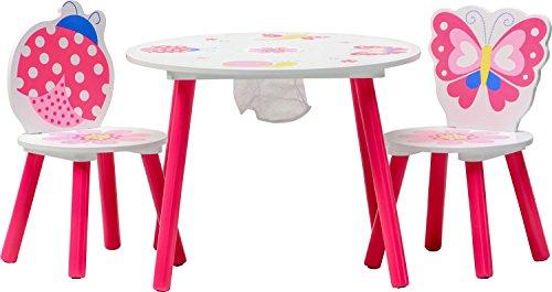 IB-Style - Kindersitzgruppe Truhenbank Spielgruppe Papillon | 6 Kombinationen | Set: 1 Tisch + 2 Stühle - Stuhl Truhenbank Kindermöbel Tisch Kindertisch Kinderstuhl Tafel Standtafel Kinderregal