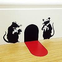 バンクシースタイルウェイターラットマウス動物ビニールウォールステッカーデカールキッズ保育園寝室リビングルームオフィススタジオクラブ家の装飾壁画