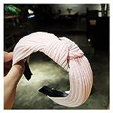 YSJJSQZ Banda para el Cabello Moda Mujeres Elegante Algodón Sólido Arco Nudo Candadas Hairbands Play Bandas Adornado Headwear Holder Holder Dama Accesorios para el Cabello (Color : Pink)