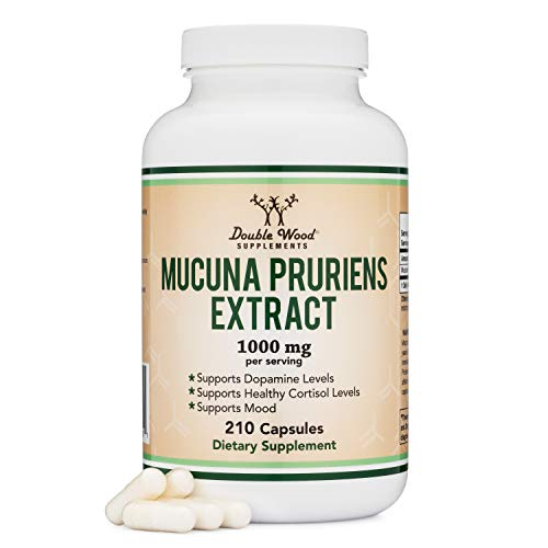 Mucuna Pruriens Extract - Dopamine Boosting Supplement - 210 Capsules, 1,000mg Per Serving, 20% L Dopa (From Velvet Beans) (For Mood and Motivation Support) by Double Wood Supplements