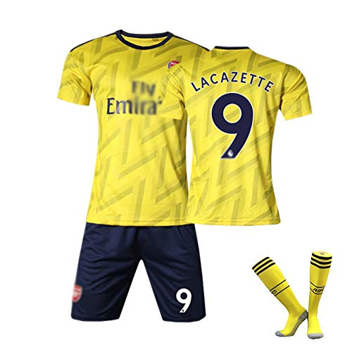 CHSC # 10 Aubameyang # 9 Lacazette Trikot Uniform # 19 Pépé Outfit,Club Kurzarm Shorts Socken Trainingsanzug für Herren Kind 16-XXL 1 Set Yellow(#9)-24