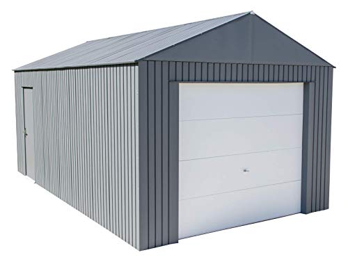 Sojag 12' x 20' Everest Galvalume Steel with Extra Tall Walls Garage Storage Building, Charcoal