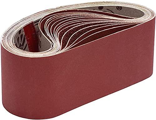 KONGMING Bandas de lijado, 75 x 533 mm 80/120/150/240/400 Bandas de lijado de grano grueso/fino para lijadora de banda (15 piezas) ✅