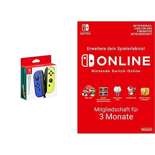 Nintendo Joy-Con 2er-Set, blau/neon-gelb & Switch Online Mitgliedschaft - 3 Monate | Switch Download Code