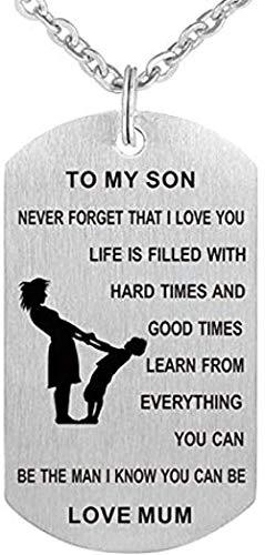 Collar De Acero Inoxidable Collar con Colgante De Madre E Hijo Collar con Placa De Identificación Mano A Mano para Mi Hijo Regalo De Love Mom