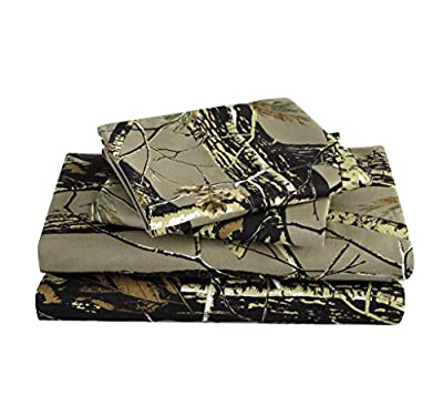 Chezmoi Collection Salem 4-Piece Forest Woods Sheet Set - Nature Camo Tree Leaves Printed Soft Microfiber Sheets - California King, Natural
