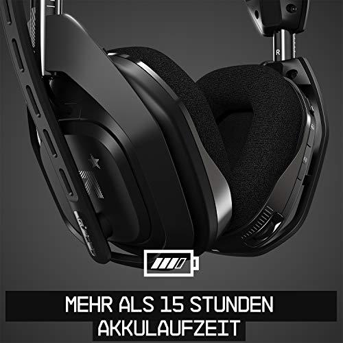 ASTRO Gaming A50, Wireless Gaming-Headset mit Ladestation, Dolby Audio, Game/Voice Balance Control, 2,4 GHz Kabellos, 9m Reichweite, für PS5, PS4, PC, Mac - Schwarz/Silber