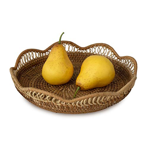 Flower Shaped Wicker Bread Fruit Basket Bowls | Round Tabletop Rattan Woven Bread Fruit Snack Food Serving Bowls for Dining Table, Kitchen, Home Decor