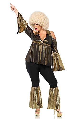 Leg Avenue 85596X 85596X-2Tl Set Disco Diva, Schwarz/Gold, 1X-2X, Damen Fasching Kostüm, Größe: 1XL/2XL (EUR 46-50)