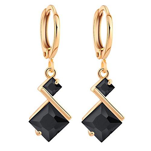 YAZILIND 18K Gold Plated Cubic Zirconia Inlay Charming Hoop Dangle Earrings for Women Gift