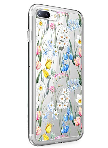 iPhone 6+/6s + Case Transparent,Oihxse Kompatibel mit iPhone 6 Plus/6s Plus Silikon Hülle mit Blume Motiv Ultra Dünn Durchsichtige Case 360 Grad Schützen,Schutzhülle Slim Stoßfest TPU Bumper (A10)