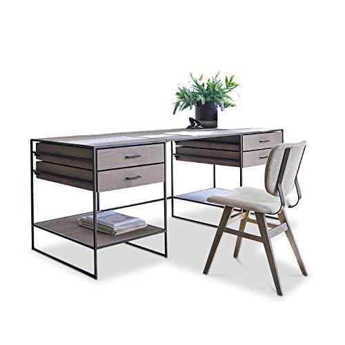 Loberon Schreibtisch Lycus, Metall, Eichenholz, H/B/T ca. 78/200 / 75 cm, grau/schwarz