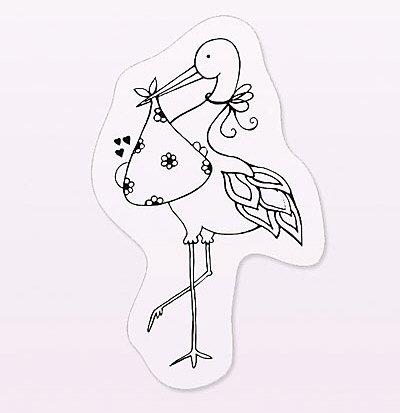 cArt-Us Mini Tampon Transparent Cigogne & bébé - Planche 5 x 6 cm