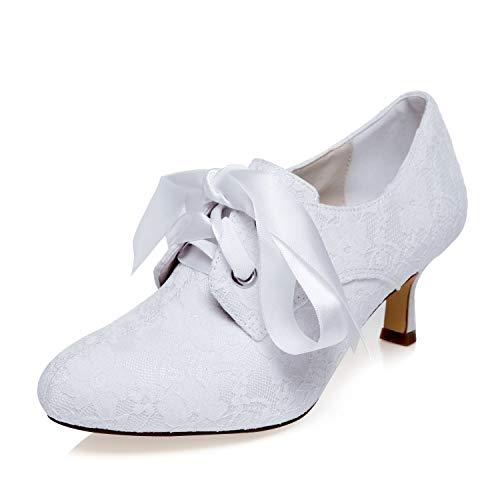 Mrs Right 1403123 Damen Brautschuhe Geschlossene Zehen Mittlerer Absatz Spitze Satin Pumps Band Krawatte Hochzeitsschuhe Farbe Weiß,Größe 41 EU