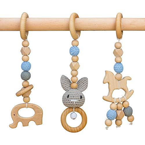 RUBY 3 Piezas Gimnasio Bebe Madera Colgante Mordedor,Baby Gym Anillas Denticion Animales Madera Bebe Gimnasio Accesorios, Cuna Bebe Juguete, Juguetes Bebe 6 Meses (Grey rabbit)