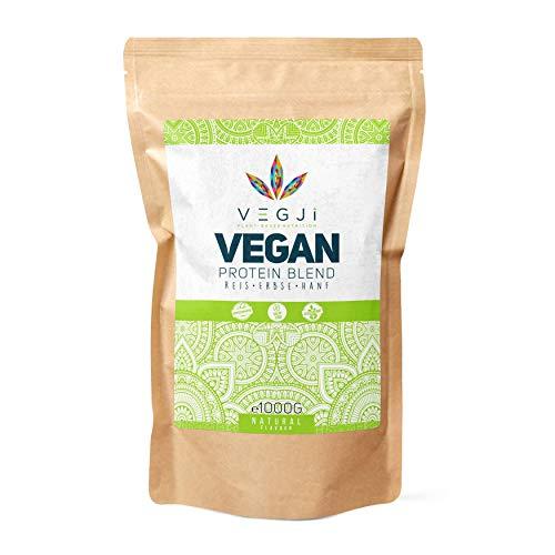 VEGJi Vegan Protein Blend 1000g   Erbsen-, Reis- & Hanfprotein   Hoher Proteingehalt   Natürliche Zutaten   Ohne Aroma & Süßungsmittel (Natur)