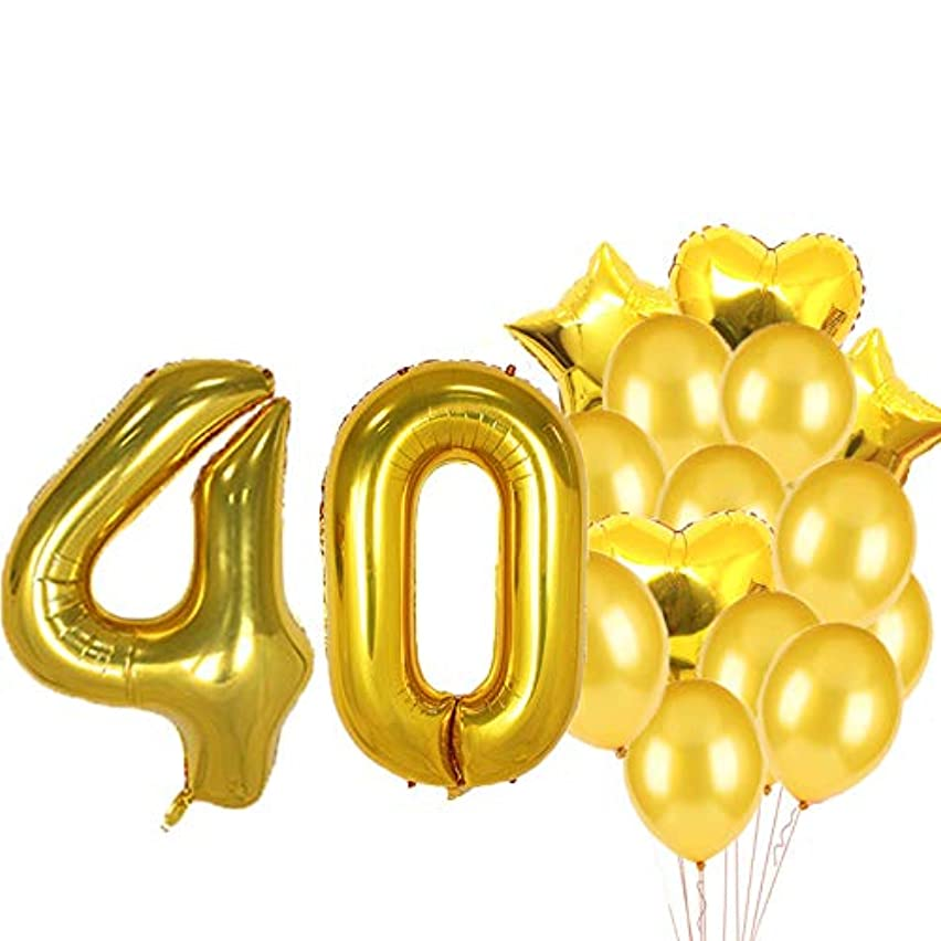 Sweet 40th Birthday Decorations Party Supplies,Gold Number 40 Balloons,40th Foil Mylar Balloons Latex Balloon Decoration,Great 40th Birthday Gifts for Girls,Women,Men,Photo Props