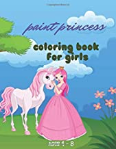 paint princess coloring book  for girls ages 4 - 8