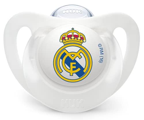 NUK Genius, Chupete del Real Madrid para Bebé Recién Nacido de Silicona con Tetina Anatómica en Forma de Pezón Materno. Producto Oficial. Color Blanco. 0 a 6 meses